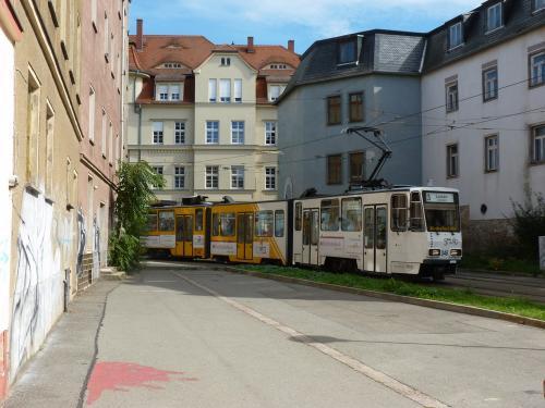 18/09/2015 - photo tram Tatra KT4 348 GVB - Geraer Verkehrsbetrieb GmbH sur la ligne 3 à Gera - Allemagne