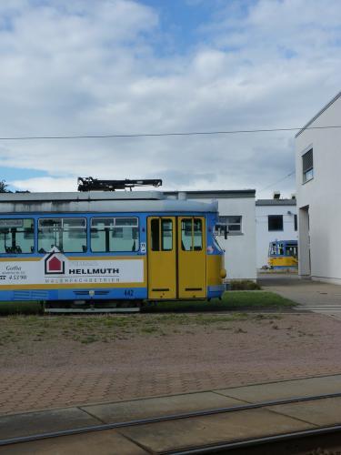 18/09/2015 - photo tram Duewag GT6 442 TWSB - Thüringerwaldbahn und Straßenbahn Gotha GmbH  à Gotha - Allemagne